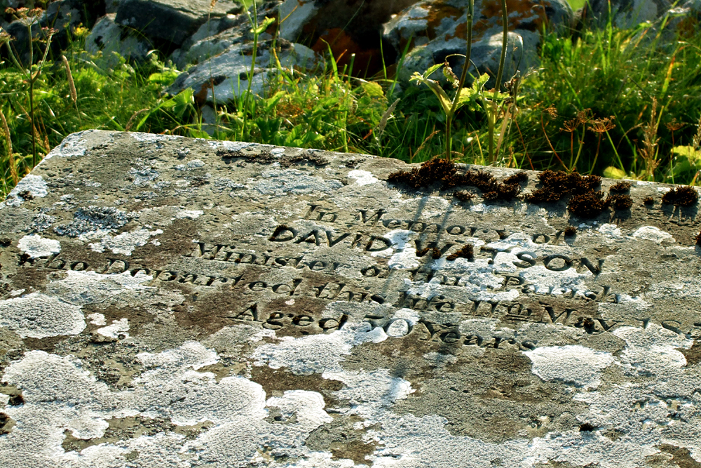 David Watson's gravestone at Baile na Cille
